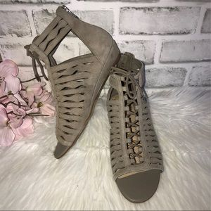 Sam Edelman Strappy Suede Wedge Booties 6